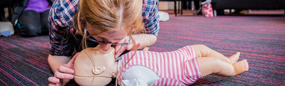 lady at baby first aid class in warwickshire